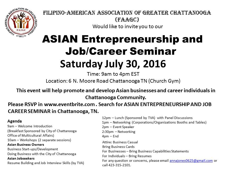 2016 ASIAN ENTREPRENEURSHIP AND JOB CAREER SEMINAR